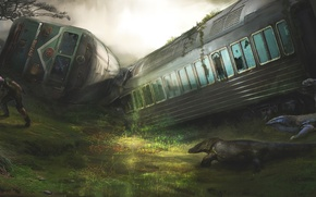 Wallpaper cars, the crash, lizards, train, art, male, people