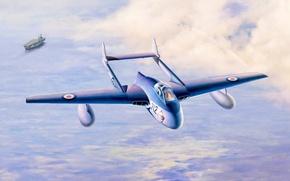 Picture jet, De Havilland Vampire, painting, airplane, war, art