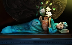 Picture girl, lotuses, fantasy, Lotus, girls, fantasy