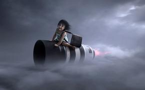 Picture girl, lens, flight, Jet Lens