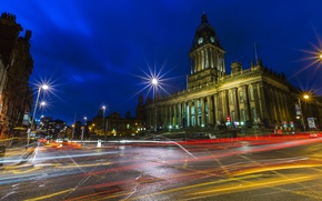 Picture night, street, lights, UK, Palace, Leeds Town Hall