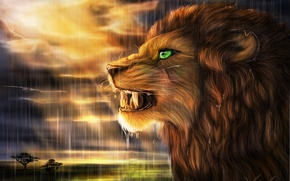 Picture the sun, rain, predator, Leo, art, Savannah, profile, wild cat, goldenphoenix100