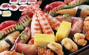 Picture cheese, caviar, Japanese food, rolls, shrimp, seafood, meals