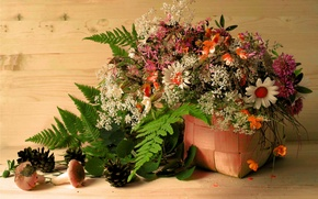 Picture leaves, flowers, basket, mushrooms, bumps