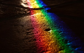 Picture road, color, light, night, rainbow, pavers