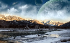 Wallpaper mountains, planet, river, clouds, winter