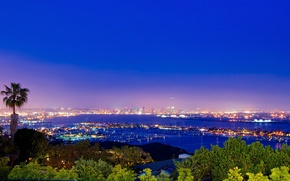 Picture the city, lights, view, the evening, panorama, San Diego, Bay, spectacular views