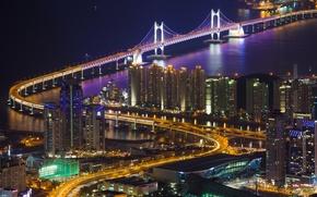 Picture backlight, bridge, lighting, home, Gwangan, The Republic Of Korea, panorama, Busan, Strait, the city, lights, ...