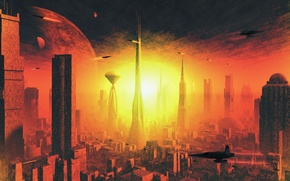 Picture the explosion, Apocalypse, planet, flash, skyscrapers, tower, megapolis