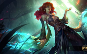 Picture chest, girl, dress, art, red, hon, Heroes of Newerth, defiler, Green Lady