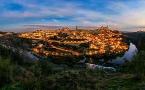Picture the city, lights, the evening, Spain, Toledo, the Tagus river