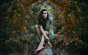 Wallpaper look, girl, tree, trunk, photographer, sitting, Ivan Gorokhov, confused