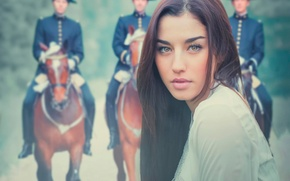 Picture look, girl, background, portrait, cavalry