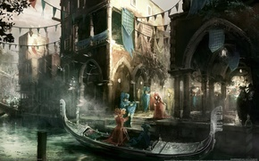 Picture the city, people, boat, channel, assassins creed, Venezia