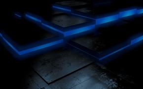 Picture black, blue, cubes, floor, dark background, jumps, fluorescent