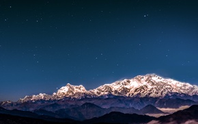 Picture nature, mountains, mountain, snow, stars, hills, wind, cold, Asia, India, Sikkim, low light pollution, Kanchenjunga ...
