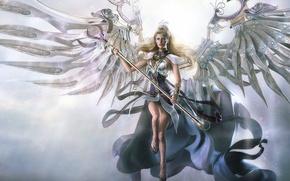 Wallpaper angel, metal, Wings, staff