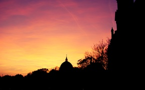Picture the sky, the sun, clouds, sunset, Germany, Cathedral, bright, silhouettes, Berlin