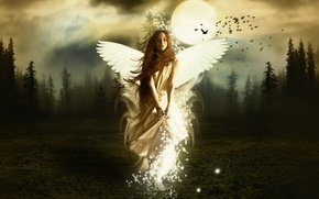 Picture wallpaper, red hair, angel, white wings
