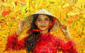 Wallpaper girl, face, background, Vietnamese