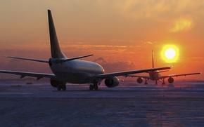 Wallpaper airport, aircraft, sunset