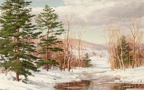 Picture winter, forest, landscape, river, Carl Worm