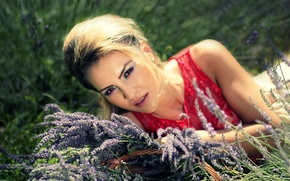 Picture summer, look, girl, nature, makeup, lavender