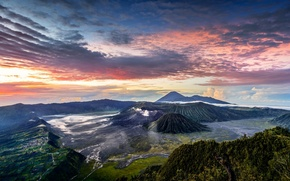Picture clouds, mountains, Indonesia, Java, panorama, Tengger, volcanic complex-the Caldera TenGer, the volcano Bromo