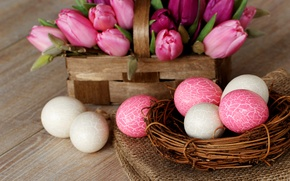 Picture flowers, holiday, tulips, white, eggs, Easter, Easter, Easter, socket, pink, basket, spring