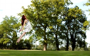 Picture girl, Park, jump, flight