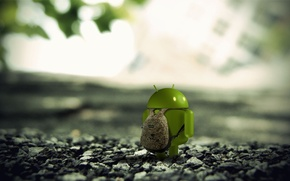 Picture macro, stones, earth, Android, backpack, 3D render