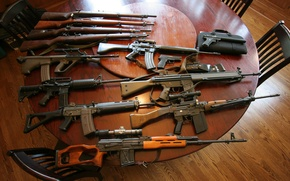 Wallpaper weapons, table, guns, assault rifles, machines, sniper rifle