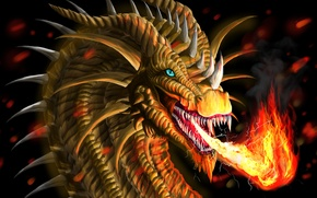 Picture look, fire, art, mouth, fire-breathing dragon