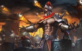 Wallpaper army, warrior, helmet, spear, hon, shield, Heroes of Newerth, midas, Warrior King