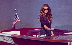 Picture look, girl, pose, model, flag, glasses, boat, girl, shirt, brown hair, sexy, model, flag, look, ...