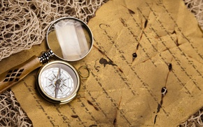 Picture letter, network, magnifier, compass