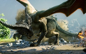 Picture stones, fire, dragon, horns, Dragon Age: Inquisition