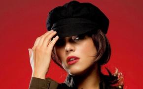 Picture girl, actress, singer, cap, beautiful, Venezuela, model, hand, Alicia Machado, the visor., journalist, holds, Alicia …