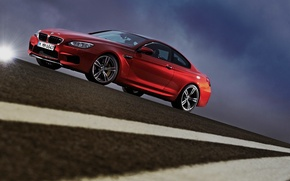 Picture The sky, Red, The evening, BMW, Asphalt, Blik, Coupe, Side view, coupe