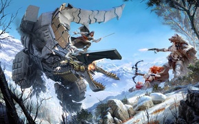 Picture The sky, Girl, Mountains, Look, Robot, Trees, Snow, Fire, Fur, Bow, Weapons, Hunter, PlayStation 4, ...