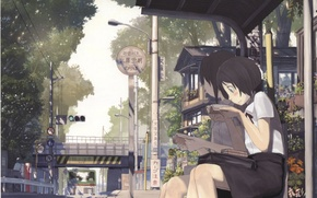Picture road, summer, trees, bridge, street, posts, two, books, traffic light, Schoolgirls, art, stop, Imperial Boy …