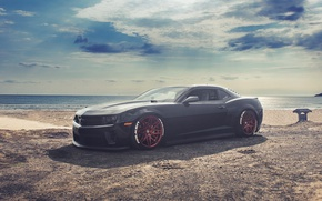 Picture beach, supercar, Chevrolet Camaro