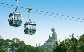 Picture the city, Buddha, Hong Kong, the funicular