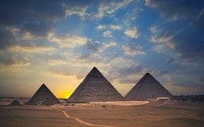 Picture sunset, desert, pyramid, Egypt