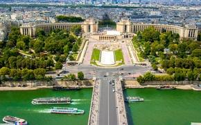 Picture bridge, river, France, Paris, area, Paris, river, bridge, France, Trocadero, Trocadero
