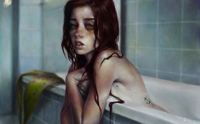 Picture look, girl, face, mermaid, art, bath, red