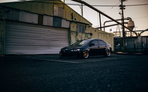 Picture plant, lights, industry, wheel, Mitsubishi, Lancer, power lines