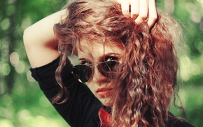 Picture look, girl, background, Wallpaper, mood, glasses, red, curls