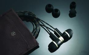Picture macro, headphones, hi tech, pouch
