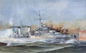 Picture smoke, figure, explosions, battle, Navy, sea, shots, cruiser, British, The second world war, easy, UK, …